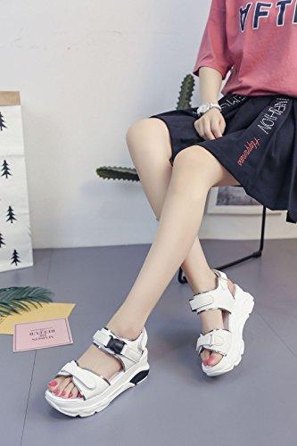 del Sandalias para Mujeres el Las pie Planas Cordón Mujeres Huecas Dedo Las 1Color del Huecas yalanshop Velcro de con SIqdZP