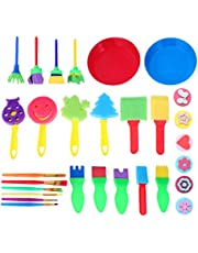 TOYANDONA 29 Pcs Kids Painting Sponge Set Painting Sponge Brushes Painting Stamps Palette Foam Art Craft Drawing Tools for Kids Toddlers