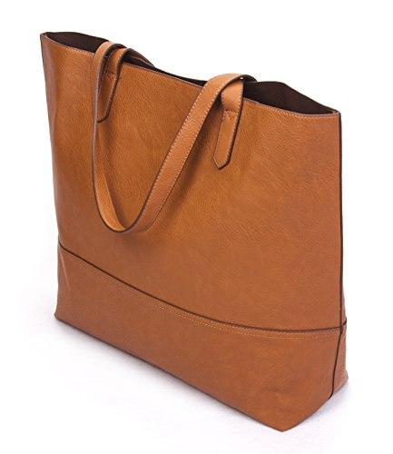 With Tote Leather Shoulder Tan Open Bag Vegan Overbrooke Top Womens Large Slouchy c8q41Bqftw