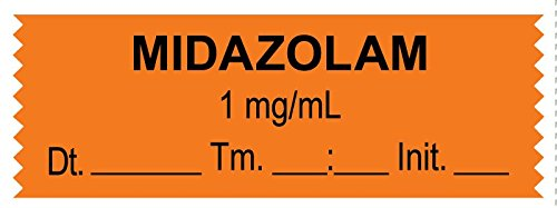 MedValue Anesthesia Tape, Midazolam 1 mg/mL, Date Time Initial, 1-1/2'' x 1/2'', Orange - 500 Inches Per Roll by MedValue