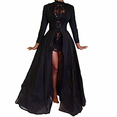 Women Black Long Cloak Cape Chiffon Lace Floral Short Dress 2Pcs Outfit Cocktail