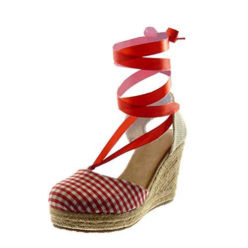 Plateforme Satin 10 Vichy Sandale Lacet Angkorly Rouge Mode Femme Ruban Corde Espadrille Chaussure Talon Compensé Montante Cm 3RAjLq54cS