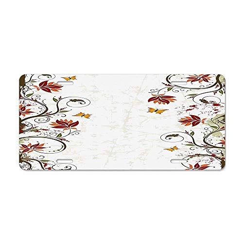 Branches Leaves Artistic Bright Petals Essence Beauty Ornate Print License Plate Cover Aluminum Metal License Plate Holder Cute ()