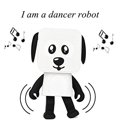 Charming OHTOP Dancing Robotic Canine Bluetooth Audio system,Mini Transportable Wi-fi V4.1 Bluetooth Speaker Tremendous Bass with Arms Free Children Birthday Christmas Present (White)  Critiques