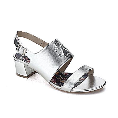 Christian Womens Strap (Christian Lacroix Rosalia Women's Chunky Heel Sandal, Silver, Size 10)