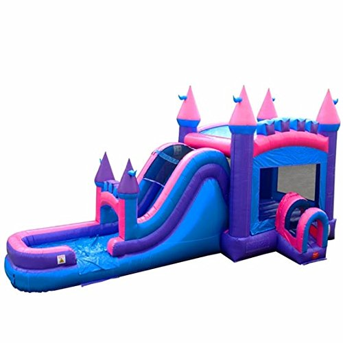 - TentandTable Pink Wet Dry Mega Bounce House Tunnel Front, Slide Climbing Wall Combo, Commercial Grade Inflatable, Blower Included