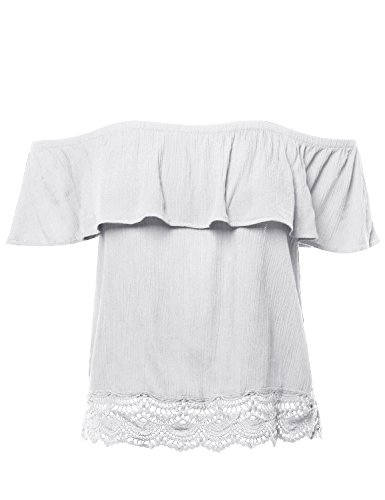 Strapless Ruffle Trim (Made by Emma Casual Solid Off Shoulder Lace Trim Bottom Hem Ruffle Top Offwhite M)