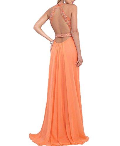 Promenade Luce Lungo Halter Una Da Di Rilievo Arancione Arancione Vestito Sera Chiffon In Vestito Luce Linea Bonbete qETC1nn