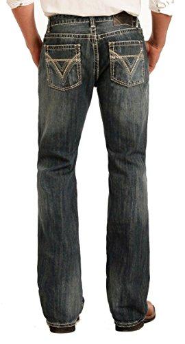 (Rock & Roll Denim Men's Pistol Regular Fit Boot Cut Vintage Wash Western Jeans, 30x34 Navy)