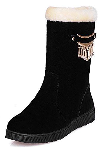 IDIFU Womens Antiskid Fur Lined Winter Booties Flat Warm Mid Calf Snow Boots Black EQOVlzJpSb
