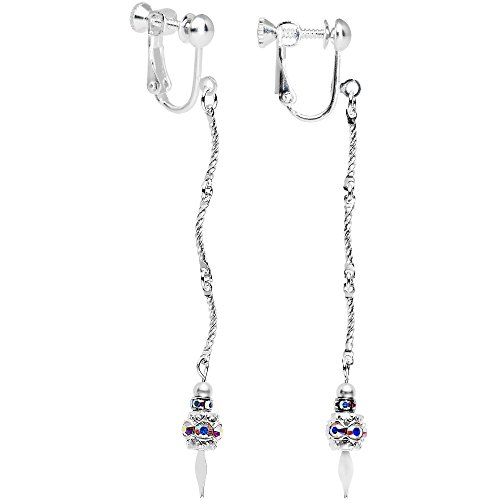 [Body Candy Handcrafted Aurora Throw a Rope Clip On Earrings Created with Swarovski Crystals] (Crystal Rope Earrings)