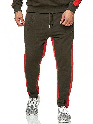 Con Pantalones Verde Deportivo Relax Hombre Gym Rayas Jogger Bridge Red AzqtwEc