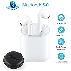 Auriculares Inalámbricos, Mini Auriculares Bluetooth 5.0, Auriculares Micrófono Estéreo con Estuche de Carga, Auriculares con Cancelación de Ruido para Todos los Teléfonos Inteligentes