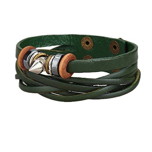 MULBA femmes r¨¦glables en cuir v¨¦ritable Bracelet Bracelet Fleur Rivet-Vert SL2888