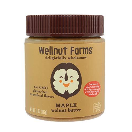 (Wellnut Farms Rich and Creamy Low Sugar Walnut Butter, Maple, 11 Ounce)