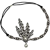 1920s Accessories Guide Babyond Bling Black-Tone The Great Gatsby Inspired Flapper Leaf Simulated Pearl Wedding Tiara Headpiece Black $14.99 AT vintagedancer.com