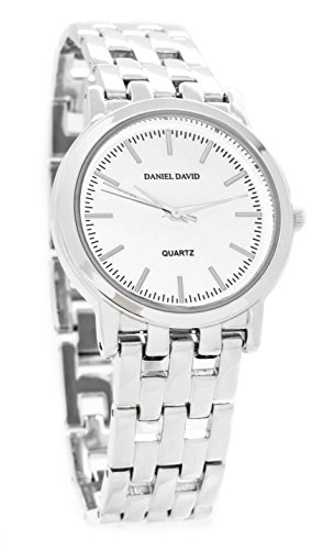 Daniel David Unisex | Stunning Silver-Tone Metal Bracelet Watch | DD10202 (Metal Round Silver Watch)