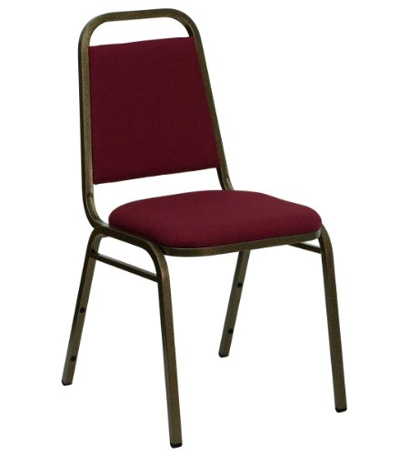 HERCULES Series Trapezoidal Back Stacking Banquet Chair with Burgundy Fabric and 1.5'' Thick Seat - Gold Vein Frame