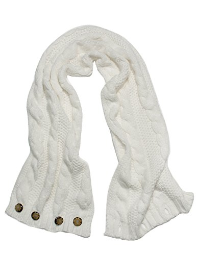 Dahlia Women's Cable Knit Infinity Scarf - Button - White