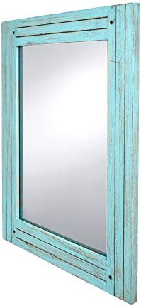 PRINZ Water s Edge Homestead 18.5-Inch by 23.5-Inch Distressed Wood Mirror, Blue