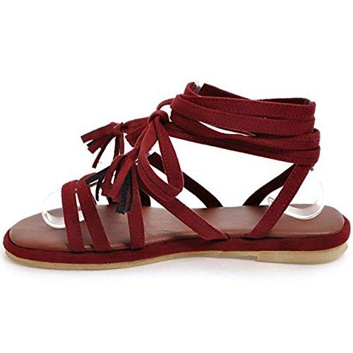 COOLCEPT Mujer Roma Cordones Sandalias Plano High Top Cruzado Zapatos Rojo