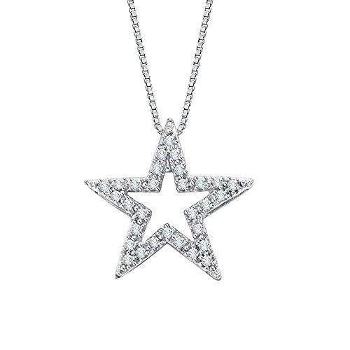 (KATARINA Diamond Star Pendant Necklace in 14K White Gold (1/4 cttw, I-J, I1-I2))