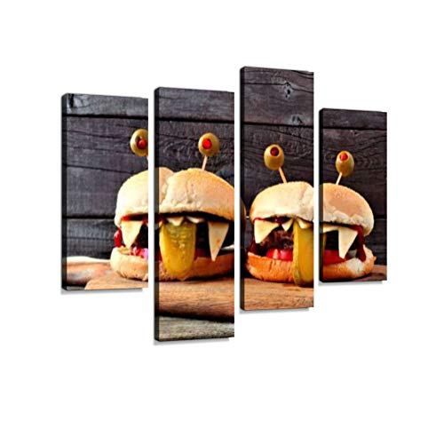 Halloween Monster Hamburgers Against Old Wood Canvas Wall Art Hanging Paintings Modern Artwork Abstract Picture Prints Home Decoration Gift Unique Designed Framed 4 Panel -