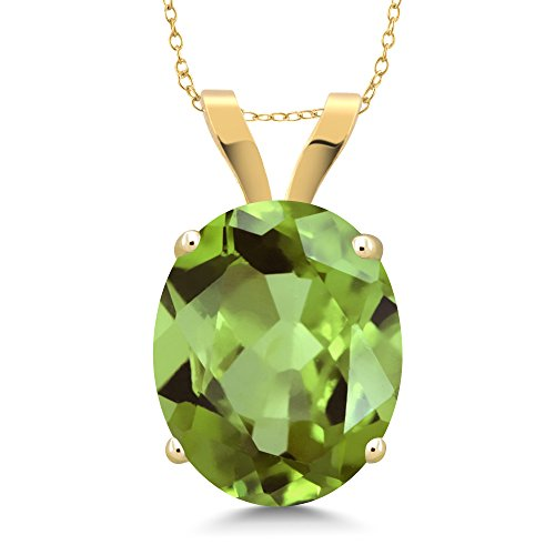 14K Yellow Gold Green Peridot Pendant Necklace 3.00 Ct Oval Gemstone Birthstone with 18 Inch Chain