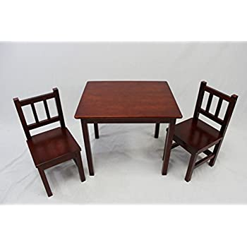 EHemco Kids Table And 2 Chairs Set Solid Hard Wood (Cherry)