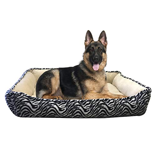 (HappyCare Textiles HCT REC-002 Rectangle Ultra-Soft Printed Dog and Pet Bed, Large, Black Zebra)