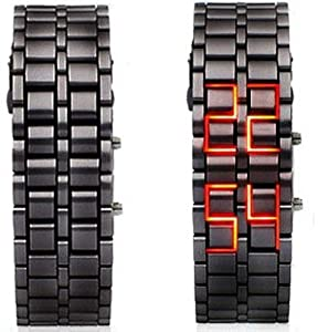 Mens Black Metal Band Iron Lava Samurai Style Wrist Watch Faceless Japanese Inspired Red LED-BKRD