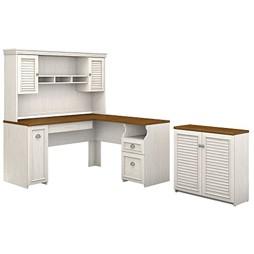 Bush Furniture Fairview 60W L Shaped Desk with Hutch and Small Storage Cabinet in Antique White and Tea Maple