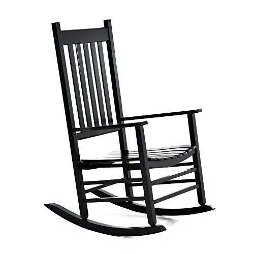 Outsunny Versatile Wooden Indoor/Outdoor High Back Slat Rocking Chair - Black ()