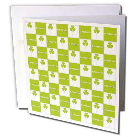 (3dRose Anne Marie Baugh - St. Patricks Day - Cute Green and White St. Patricks Day and Clover Checkerboard Pattern - 6 Greeting Cards with envelopes (gc_269316_1))