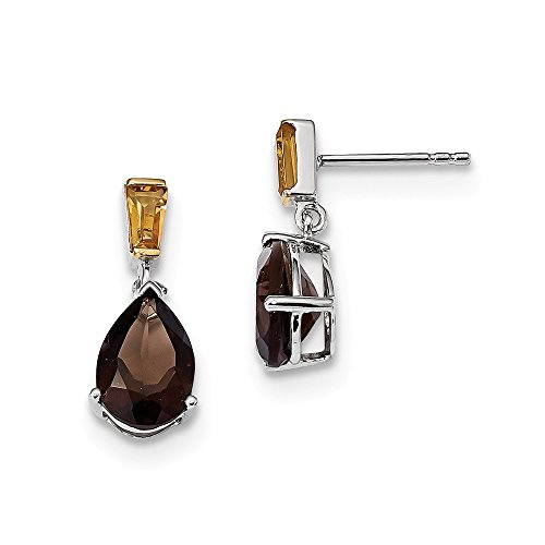 Perfect Jewelry Gift Sterling Silver & 14K Smoky Quartz and Citrine Earrings