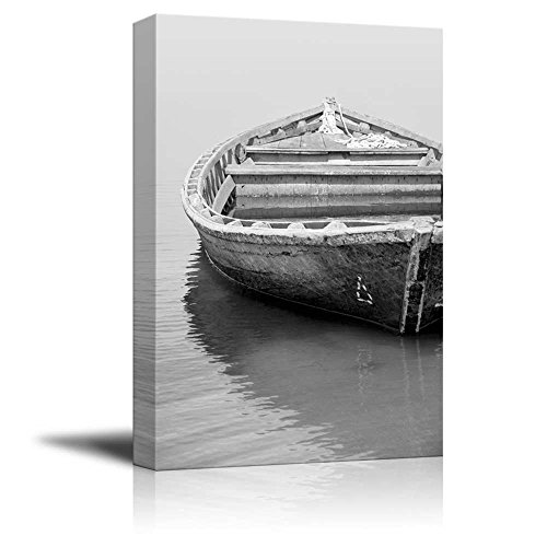 "wall26 - Canvas Prints Wall Art - Old Fishing Boat in Black and White | Modern Wall Decor/Home Decoration Stretched Gallery Canvas Wrap Giclee Print. Ready to Hang - 24"" x 36"""