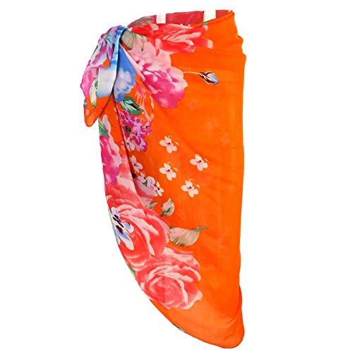 FALETO Womens Swimsuit Chiffon Cover Up Floral Beach Sarong Bikini Swimwear Wrap (#22-Orange & Flowers)