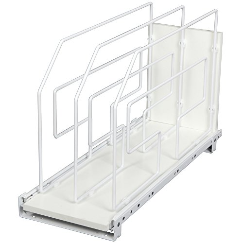 Knape & Vogt TDRO9-W 9 in. Roll Out Tray Divider Cabinet Organizer, White