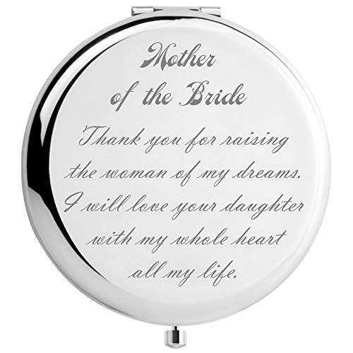 DIDADIC Mother of The Bride Gifts from Groom, Wedding Keepsake Gift from Son in Law, Engraved Gift Present (Silver, Mother of The Bride)