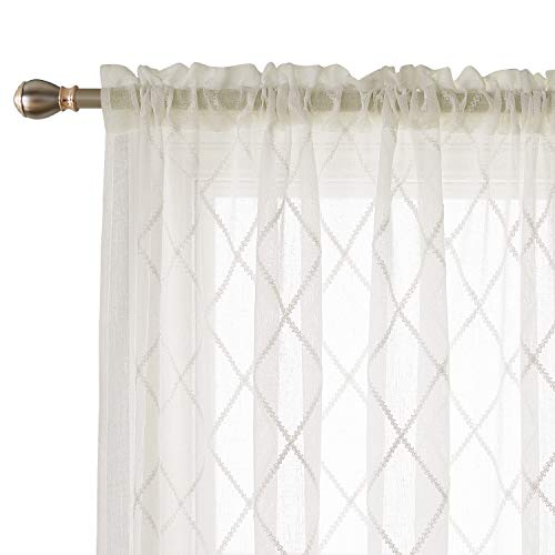 Deconovo Room Decorative Sheer Curtain Panels Faux Linen Meridian Embroidered Curtain Rod Pocket Curtains Drapes for Bedroom 52 x 95 Inch Light Beige 2 Panels (Curtains Panel Sheer Polyester)