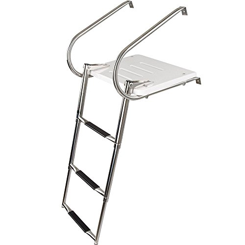 Transom Platform - 3-Step Telescoping Boat Ladder with Swim Platform & Handrails