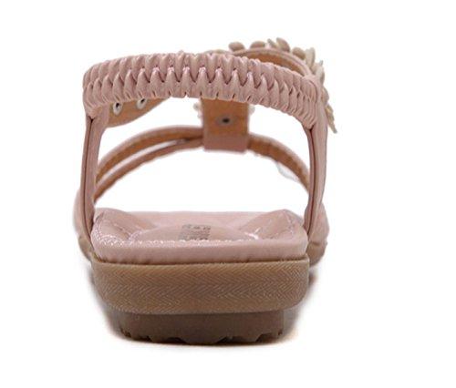 YOGLY Sandalias Para Mujer Verano 2018 Sandalias de Flores de Bohemia Dulces Estilo Moda Casual Sandalias de Playa Rosa