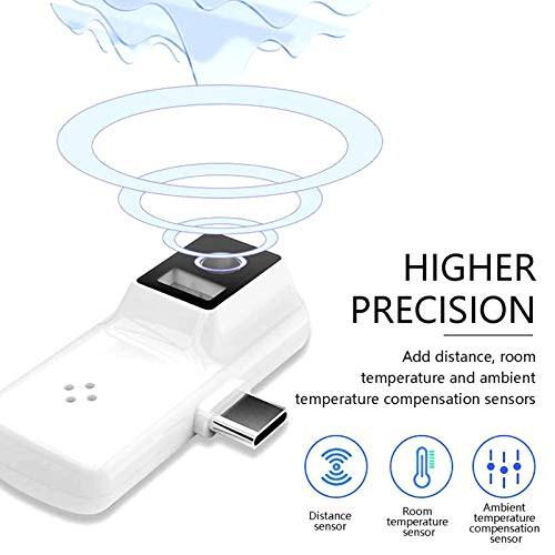 BiuBuy No-Touch Forehead Thermomètre, Infrared Thermomètre for Adult and Kids, Digital USB Type Cellphone Thermodetector, ℃ / ℉ Adjustable (White, Lightning)