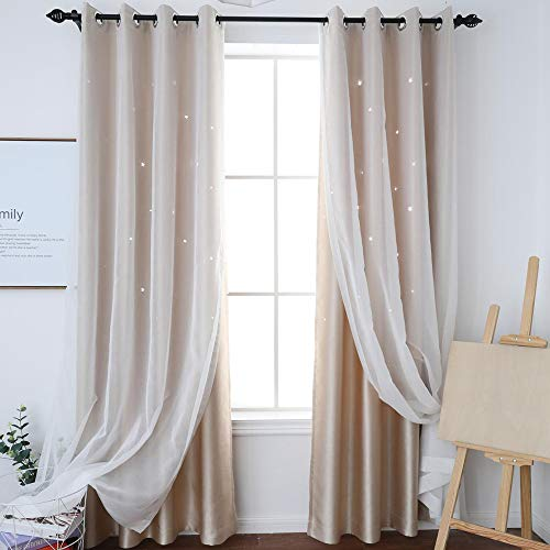 (HISEN Star Curtains Double Layer Curtain for Bedroom Kid with Hemp Yarn and Blackout Cloth (Beige, 52W 63L))