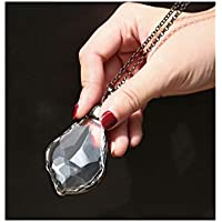 Faceted Crystal Prism Kaleidoscope Pendant Necklace with Long Antique Bronze Chain Jewelry for Women