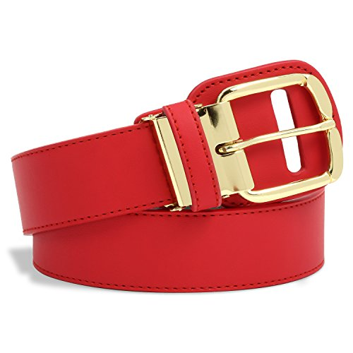 Premium Baseball and Softball Belt with Gold Colored Belt Buckle - Wear The Gold Buckle Belt Like The Major Leaguers Wear (Red, Youth) - Waist Sizes 26 - 32 inches - Red Black Cool Belt Buckle