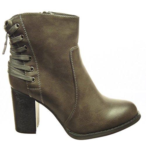Angkorly - Chaussure Mode Bottine low boots femme lacets Talon haut bloc 8 CM - Intérieur Fourrée - Gris