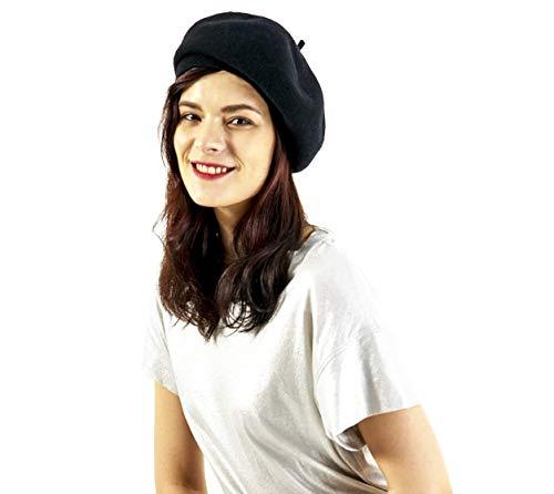 - Women's Men's Ella French Beret Wool Medium (Black)