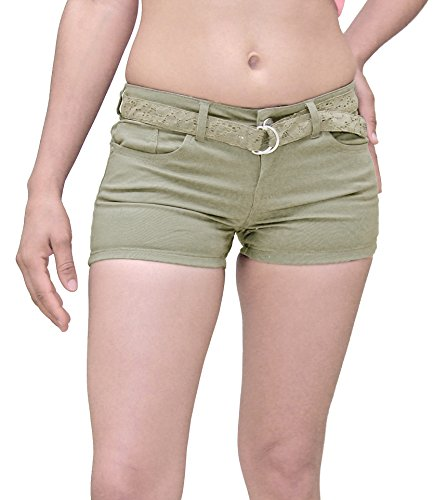 Indigo Rein Juniors Lace Belt Twill Shorts-Mushroom-3