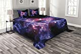 Lunarable Outer Space Bedspread Set Queen Size, Dusty Gas Cloud Nebula and Star Clusters in the Outer Space Cosmos Solar Print, Decorative Quilted 3 Piece Coverlet Set with 2 Pillow Shams, Navy Purple